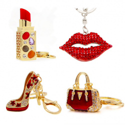 Crystal lipstick & bag keychain keyring