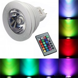 E14 E27 RGB LED 3W color changeable lamp bulb with remote control