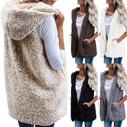 Faux fur vest hooded body warmer jacket