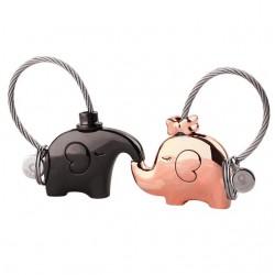Elephant couple keychain keyring