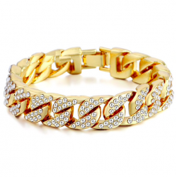 Goud / zilveren armband met zirkonia's - unisex