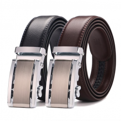 Cow genuine leather automatic buckle belt