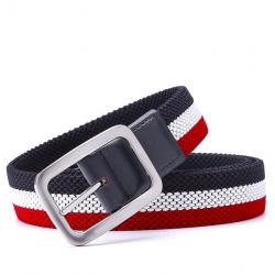 Elastic reversible woven canvas belt
