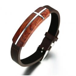 Bracelet de bois de rose et cuir retro