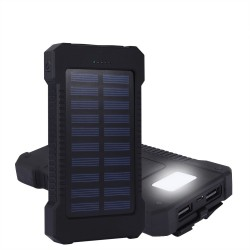 10000mAh waterproof solar power bank 2 USB external charger with LED light