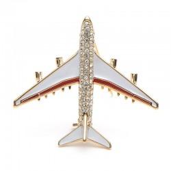 Kristall Flugzeug Brosche