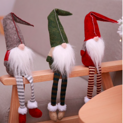 Christmas decoration long-legs sitting elf 50cm