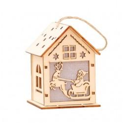 Maison de Noel de bois avec LED
