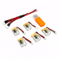 Eachine RC Quadcopter E010 E010C 3.7V 150MAH 45C upgrade batterij incl USB oplader set 5 stuks
