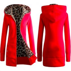 Leopard fleece hooded jacket