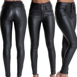 Faux leather high waisted trousers pants