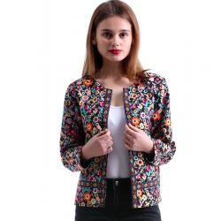 Floral design multicolor elegant short jacket