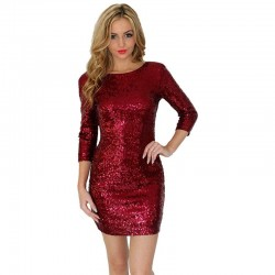 Long sleeve slim mini sequins dress