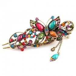 Vintage & rhinestones flower butterfly hair clip