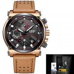 Leather automatic quartz watch waterproof