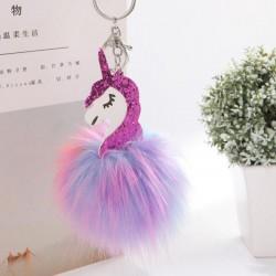 Unicorn & furry pom pom keychain keyring
