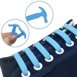 Unisex elastic silicone shoelaces 16 pcs set