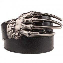 Skull hand buckle leather belt