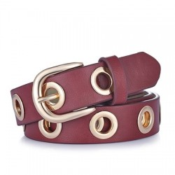 Leather belt with round metal holes