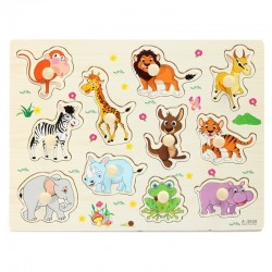 Cartoon animals wooden jigsaw puzzle toy