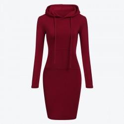 Fleece hooded dress with pockets