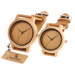Leather band bamboo quartz couple watch