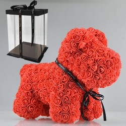 Dog made from infinity roses - 40 cm