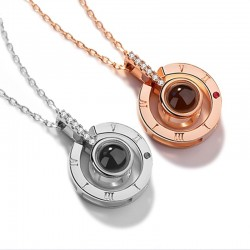 Pendant with 100 languages projection I LOVE YOU rose & silver necklace