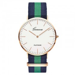 Fashion quartz watch with nylon band - unisex