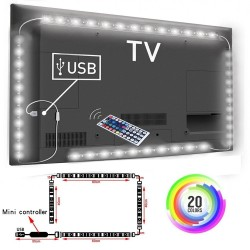 5V 1M / 2M / 3M non - waterproof RGB 5050SMD LED strip - TV background lighting - with USB IR controller
