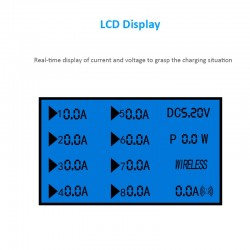 LED display 8 port USB wireless charging station Type-C with stand