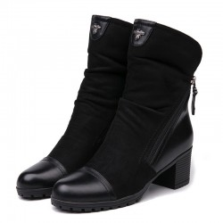 Suede & leather boots with double zipper