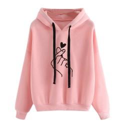 Women's - hoodie hooded sweatshirt - cotton - fingertips heart print