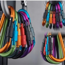 Safety buckle - aluminum alloy carabiner with lock 6 pcs