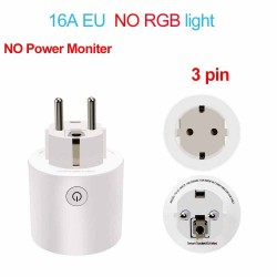 16A EU RGB Wifi plug with power monitor - wireless smart socket with Google Home Alexa voice control
