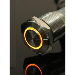24V - 16mm LED ring rvs auto schakelaar on/off self-lock