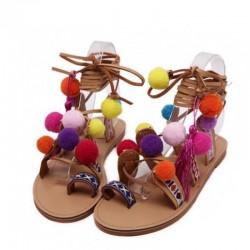 Suède sandalen met pompons - leren veters