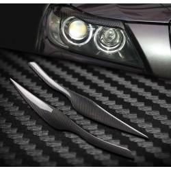Car headlights eyebrows stickers for 2005 - 2011 BMW E90 E91 4DR - carbon fiber