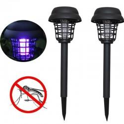 Sonnenenergie-LED-Moskito-Killer-Rasenlampe Gartenbeleuchtung 2 Stück.