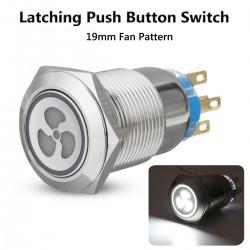 12v 19mm - ventilator drukknop schakelaar met LED - motorstart - zelfvergrendeling paneel