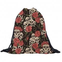 3D skull & roses - drawstring backpack - unisex