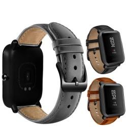 DKPLNT boucle noire en cuir vritable pour Xiaomi huami Amazfit Bip BIT PACE Lite bracelet de montre