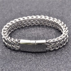 316L Stainless Steel Bracelet Men With Magnetic Clasp Wrist Band