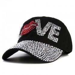 Xthree goedkope baseball cap goede kwaliteit strass cap liefde brief snapback hoeden voor mannen en
