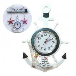 Nautische Vintage Kleine wanduhr Holz Mittelmeer-Stil Retro Meer Anker Uhren Geschenk Home Decor Tab
