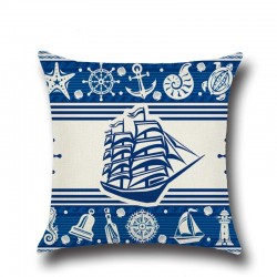 1 pices ancre bateau mer srie nautique bleu coton linge jeter oreiller housse de coussin dcoratio
