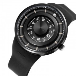 Ball rotation - stainless steel quartz watch with silicone strap