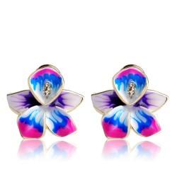 Boucles d'oreilles avec fleur et cristaux