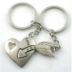 Heart & arrow - silver keychain with crystal