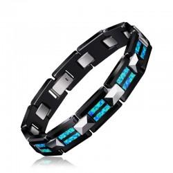 Natural Opal Tungsten Steel Black Ceramic Bracelet